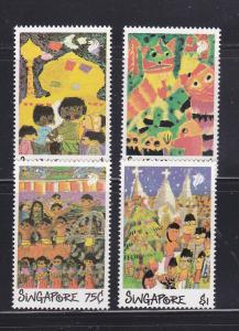 Singapore 552-555 Set MNH Childrens Drawings (B)