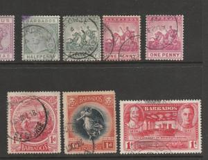 Barbados 7 pre QE2 stamps, pmk St George as shown