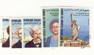 Comoro Islands, 604-08, Famous People, Singles, Used