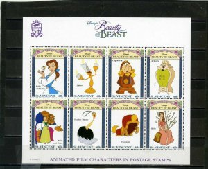 ST.VINCENT 1992 DISNEY BEAUTY AND THE BEAST SHEET OF 8 STAMPS MNH
