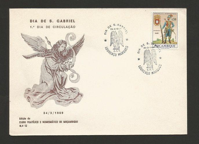 FDC 1969 MOZAMBIQUE MOÇAMBIQUE  ANGEL S. GABRIEL stamp uniforms army PORTUGAL z1