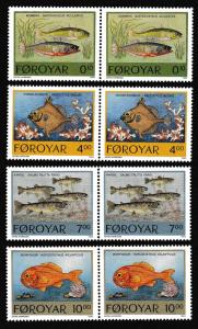 Faroe Is. Fish 4v issue 1994 in pairs SG#249-252 SC#260-263