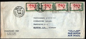 Morocco 1958 Air Mail cover to Germany 4x15F Casablanca CDS Port du Maroc HS