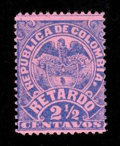 COLOMBIA (MI 117C) 1892 COAT OF ARMS INSCRIPTION RETARDO 2½C LATE FEE MH-OG