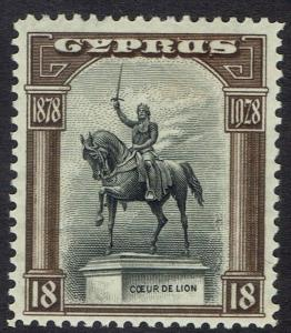 CYPRUS 1928 50TH ANNIVERSARY 18PI RICHARD THE LION HEART