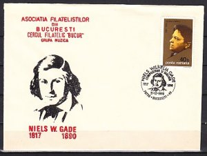 Romania, 21/DEC/90 issue. Composer Niels Gade, Cachet & Cancel on Cover. ^