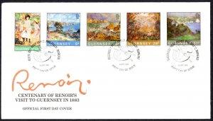 Guernsey Sc# 264-268 FDC 1983 9.6 Renoir
