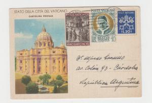 VATICAN -ARGENTINA 1951 CARD, 35L RATE (SEE BELOW)