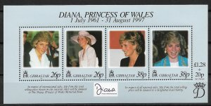 1998 Gibraltar 754 Princess Diana Memorial Fund MNH S/S