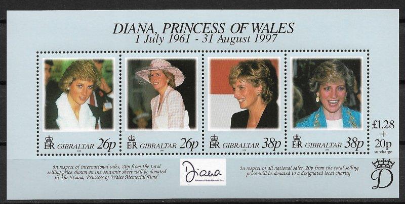 1998 Gibraltar 754 Princess Diana Memorial Fund MNH S/S