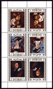 Dubai. 1967. Small sheet 273-75. Rubens, Murillo, painting, paintings. MNH.