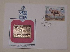 LESOTHO GOLD FOIL 1982 FDC WILDLIFE CACHET