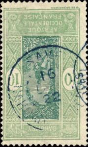 DAHOMEY - 1922 - CAD DOUBLE CERCLE SAVÉ / DAHOMEY ET DEPces EN BLEU SUR N°62