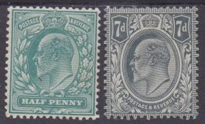 GREAT BRITAIN 1902 KEVII 1/2D AND 7D