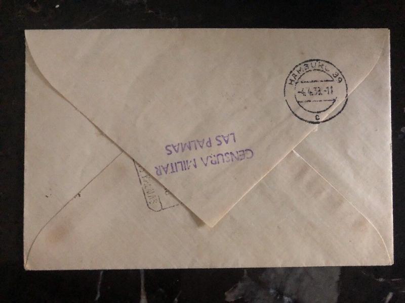 1937 Puerto La Luz Spain Civil War Airmail Censored Cover To  Hamburg Germany