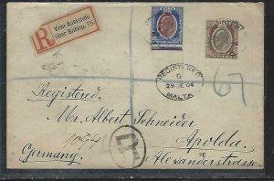 MALTA  (P2808BB) 1904   KE 2 1/2D+4D REG LETTER TO GERMANY