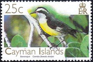 Cayman Islands # 972 used ~ 25¢ Bird - Bananaquit