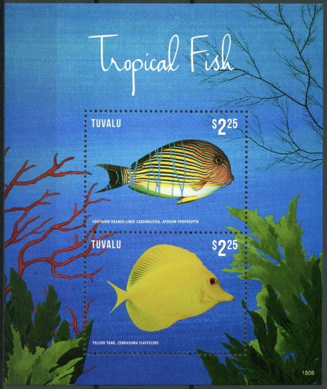 Tuvalu Fishes Stamps 2015 MNH Tropical Fish Cardinalfish Yellow Tang 2v S/S II