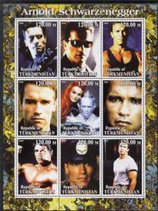 Turkmenistan 2000 Arnold Schwarzenegger perf sheetlet con...