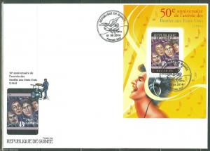 GUINEA 2014 50th ANNIVERSARY OF THE BEATLE'S FIRST US TOUR  S/S FIRST DAY COVER