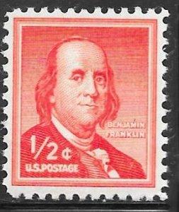 USA 1030a: 1/2c Franklin, dry printing, MNH, VF