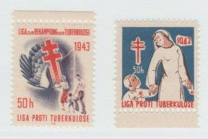 CZ Czech Republic Charity revenue stamp 7-10-21 Left=mnh gum- Right=no gum