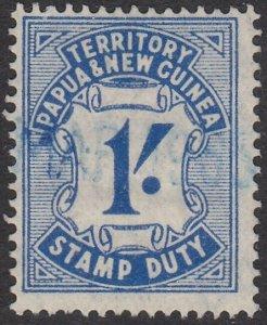 PAPUA NEW GUINEA 1952 1/- Stamp Duty fine used..............................L100