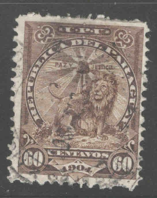 Paraguay Scott 109 Used Sentinel Lion thinned