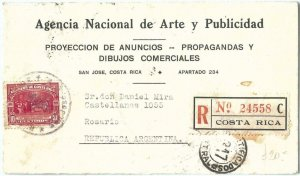 69216 - COSTA RICA  - POSTAL HISTORY - REGISTERED COVER  to ARGENTINA 1935