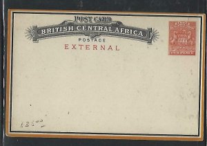 BRITISH CENTRAL AFRICA  COVER (P0210B)  ARMS 2D PSC EXTERNAL UNUSED