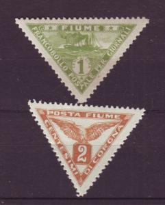 J19357 Jlstamps 1919-20 fiume mhr #p2 5 lines type, p4 triangles