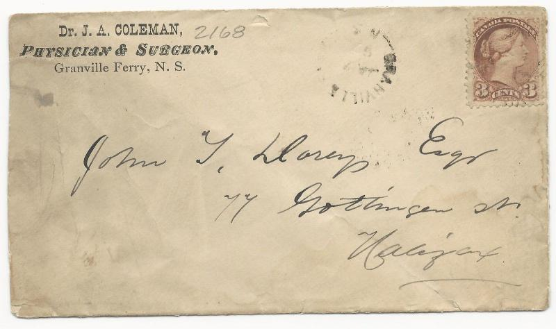 Canada Scott #37 Tied on ADV Cover Physician & Surgeon Granville Ferry, N.S.