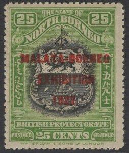 NORTH BORNEO SG274 1922 25c BLACK & YELLOW-GREEN MTD MINT