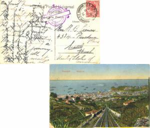Gibraltar 1d KGV 1914 Gibraltar, 25 PPC (Funchal, Madeira) to Seattle, Wash. ...