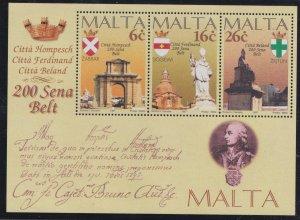Malta # 910a, City Bicentennials, Souvenir Sheet, Mint NH, 1/2 Cat..