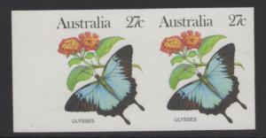 AUSTRALIA SG791a 1981-3 WILDLIFE 27c IMPERFORATE PAIR MNH