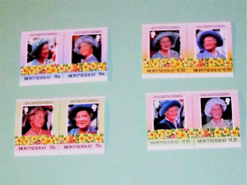Montserrat - 318-22, MNH Set (Pairs). Queen Mother's Birthday. SCV - $3.25