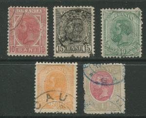 STAMP STATION PERTH Romania #137,138,142-144  King Carol I 1900 Used CV$10.00.