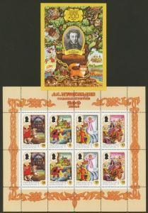 Kyrgyzstan Sc# 124-5 MNH Pushkin (M/S + S/S / Perf + Imperf)