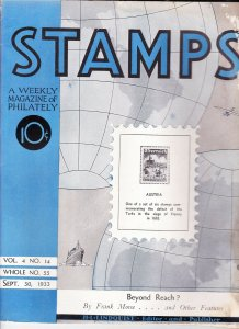 Stamps Weekly Magazine of Philately September 30, 1933 Stamp Collecting Magazine