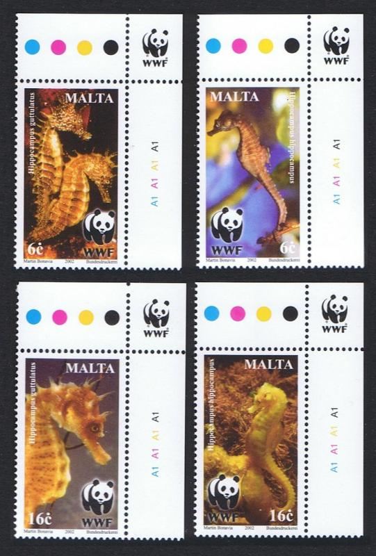 Malta WWF Mediterranean Seahorses 4v Top Right Corners with WWF Logo