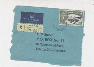 Brunei 1967 Airmail Registered Brunei Stamps Cover FRONT to England Ref 33231