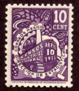 MEXICO 721, 10c INDUSTRIAL CENSUS. UNUSED, H OG. VF.