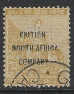 RHODESIA SG64 1896 1/= YELLOW-OCHRE FINE USED