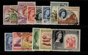 SOUTHERN RHODESIA QEII SG78-91, complete set, FINE USED. Cat £110.