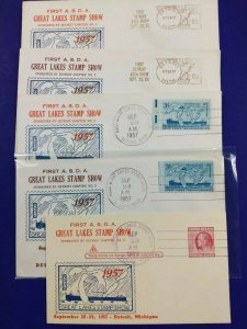 ASDA Great Lakes Stamp Show Detroit MI 1957 Philatelic Expo Meter slogan cover
