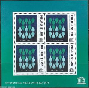 PALAU  2014 UNESCO INT'L WATER DAY  SHEET  MINT NH