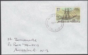 NORFOLK IS 1995 cover to New Zealand - 27c Wreck of the Diocet..............A706