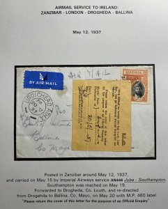 1937 Zanzibar Airmail Cover To Mayo Ireland Returned Cover Imperial Airways