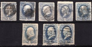 USA 1870-79 Selection of A44 used 8 Fancy Cancels Not Cked for Varieties $48.00